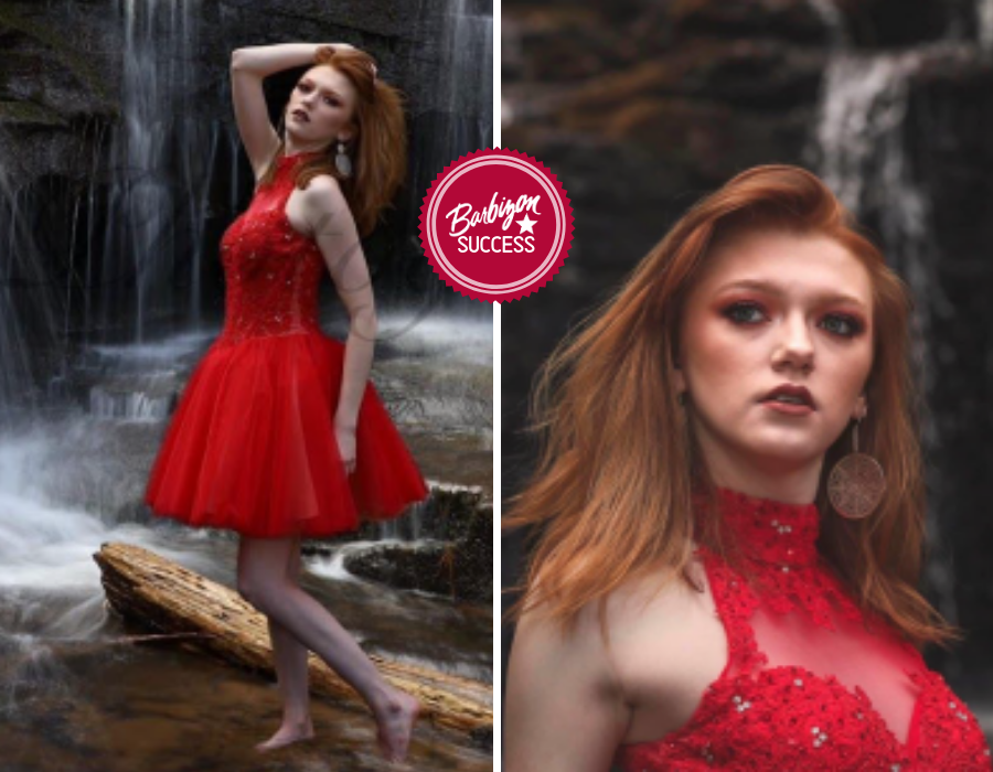 Aricca in a red dress posing in front of a waterfall for the mentioned magazine