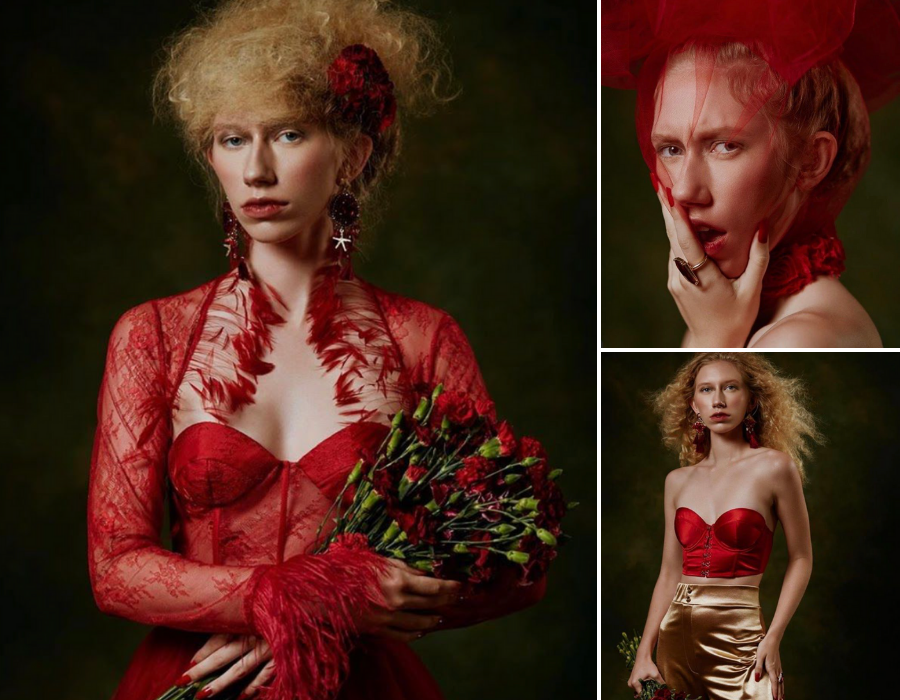 collage of Lauren Allen modeling for the editorial