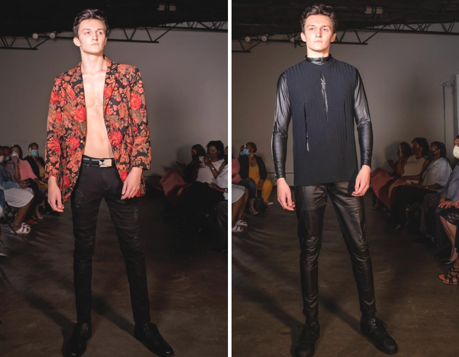 Darien Shreveport modeling on the runway in two different outfits