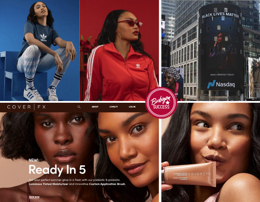 Collage of Josilyn Williams in different ads from the Adidas and Cover Girl campaign, and a shot of her on the mentioned ad in Times Square
