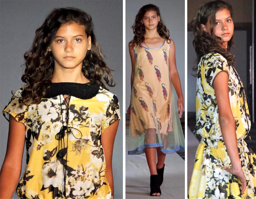 collage of Francesca walking in the fashion show in three different poses and two different dresses