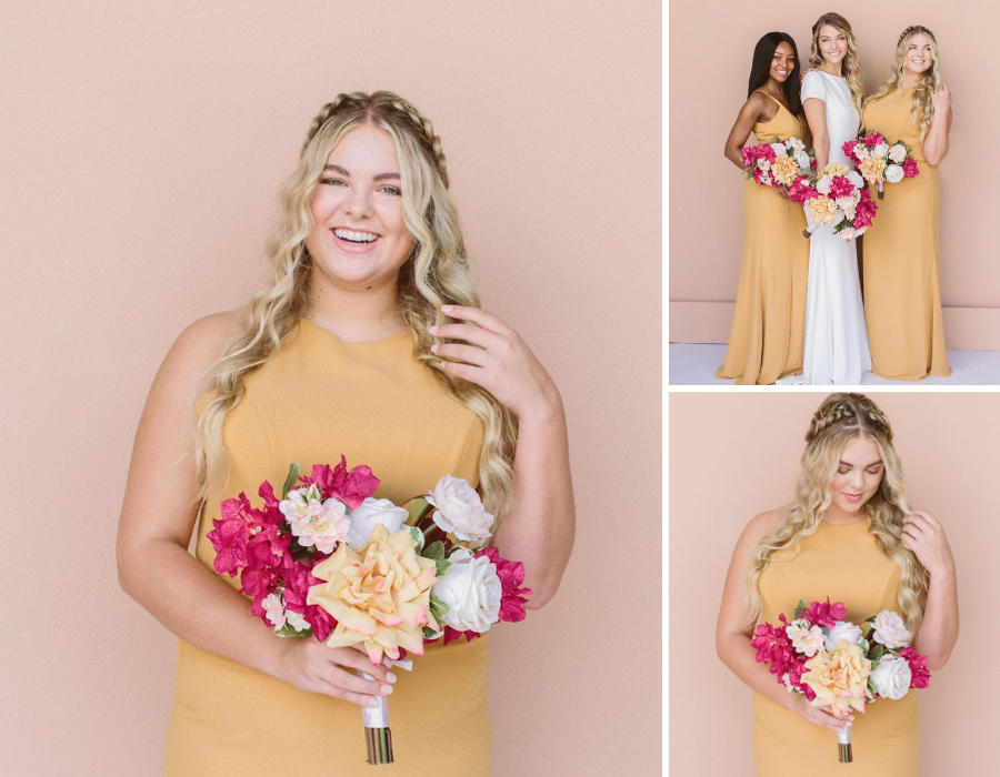 collage of Emily wearing a yellow dress and holding a boquet of flowers for the Something Borrwed Blooms campaign