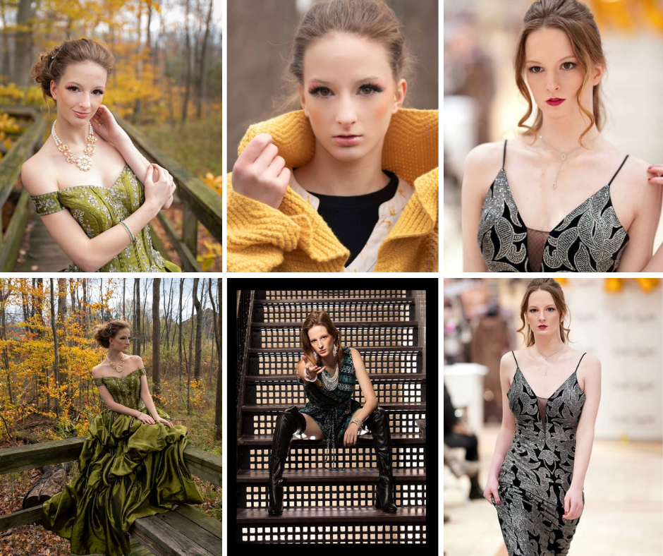 Collage of Rebeccs Kupczyk modeling in the editorials and walking the runway