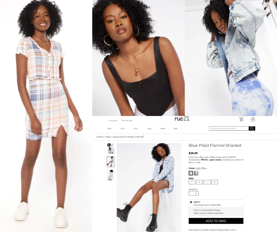 Collage of LaDonya Williams modeling in different outfits including a screenshot of her as a featured model on Rue 21's website
