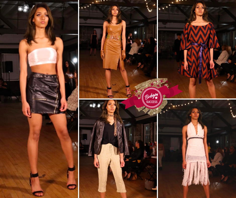 collage of Prisila modeling different LisaJack Fashions outfits on the runway at Coastal Fashion Week
