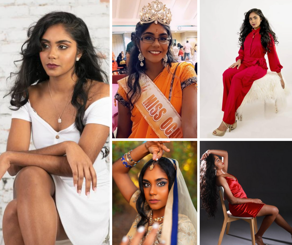 collage of Sayjal modeling in different poses and outfits as well as a photo of her wearing her crown and Miss Ocala sash