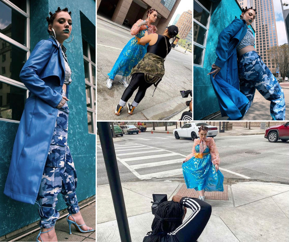 collage of Hannah Easley behind the scenes on a photoshoot modeling different designer clothes