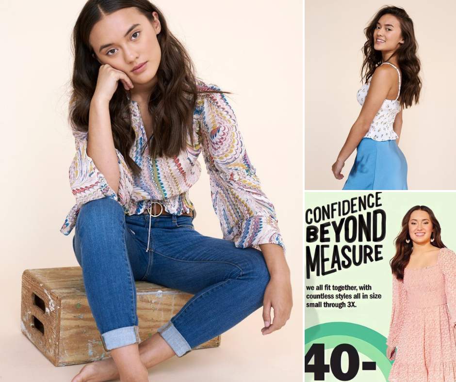 collage of Abby modeling in a seated position, standing and smiling, and shot of her on a promo poster for a modeling campaign