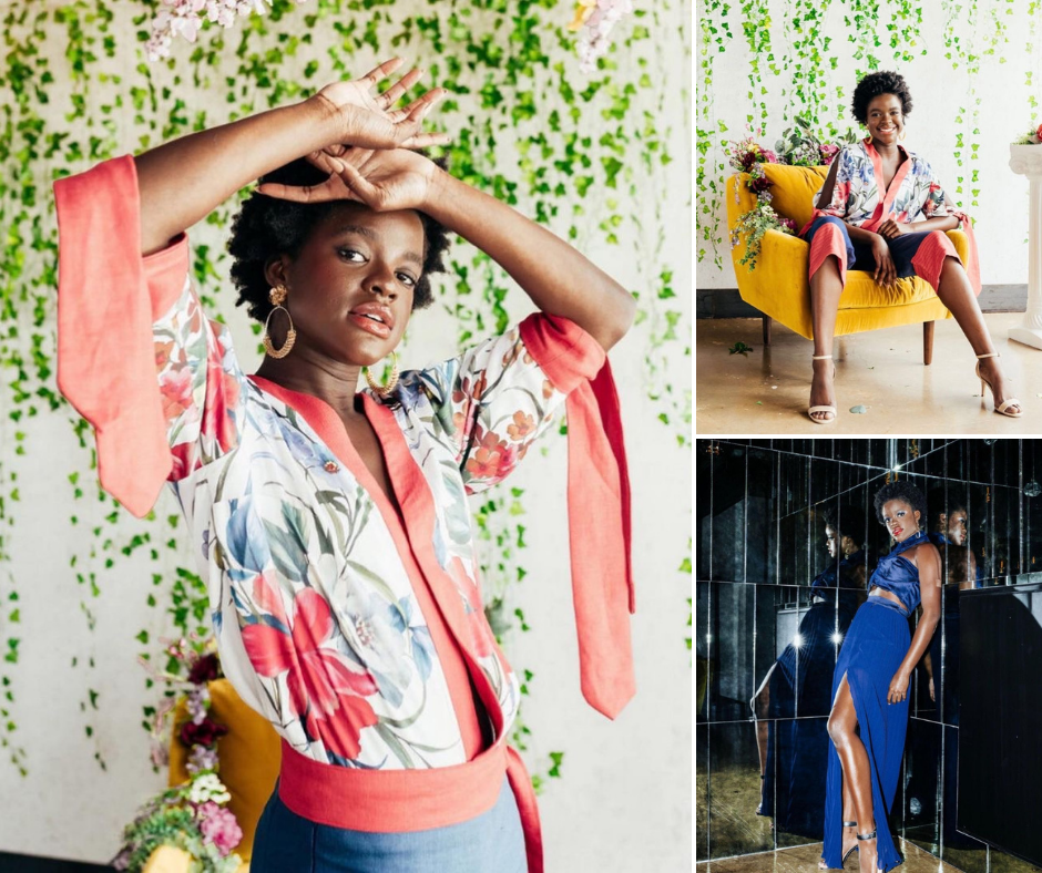 Collage of Gaetanne modeling in two different poses in a floral kimono for the TWU Fashion show as well as her posing in a blue gown