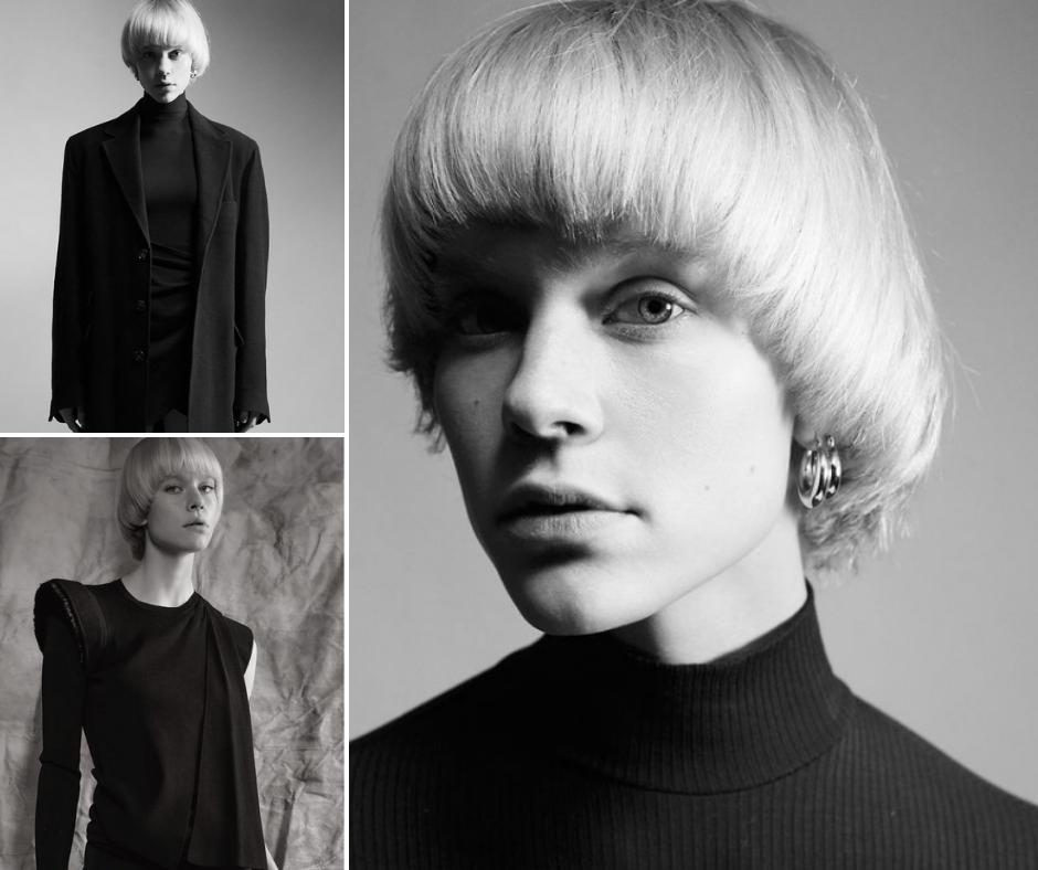collage of Katya modeling with a head shot and two body shots all in black and white
