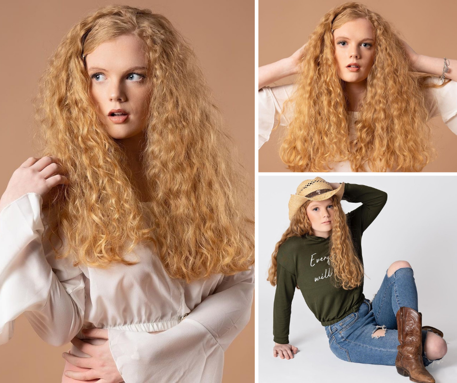 collage of Kaitlyn Oxley modeling, headshots of her posing and another one of her reclining wearing a cowboy hat