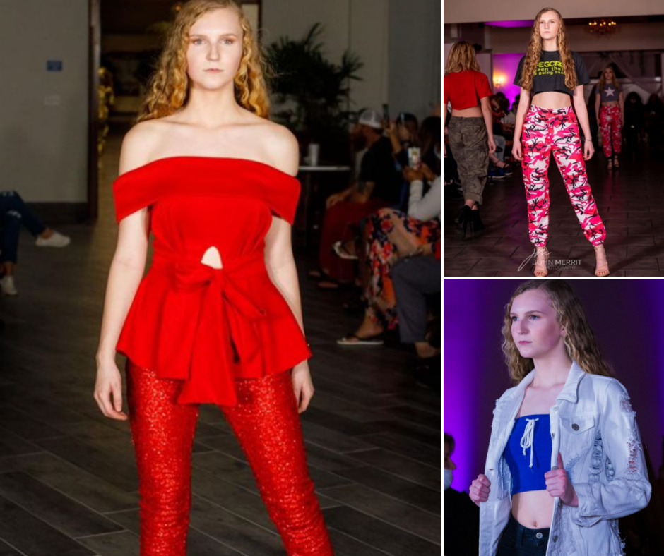 collage of Isabel Mayo posing on the runway in different fashion styles