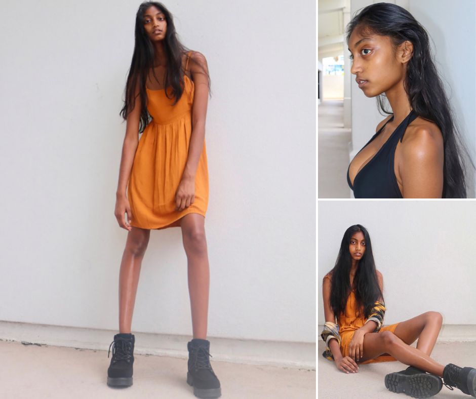 collage of Tiana modeling in different poses, one standing, one seated reclining, and also a side profile head shot