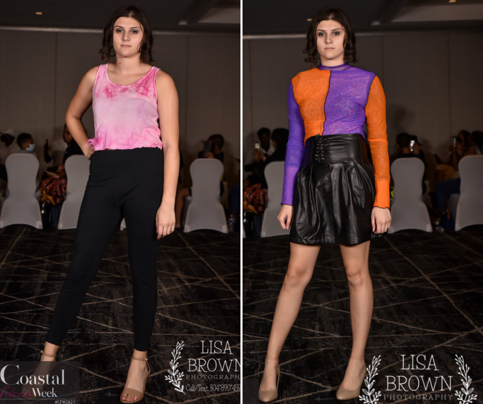 side-by-side grid images of Riana posing on the runway at Coastal Fashion Week wearing different fashion designs