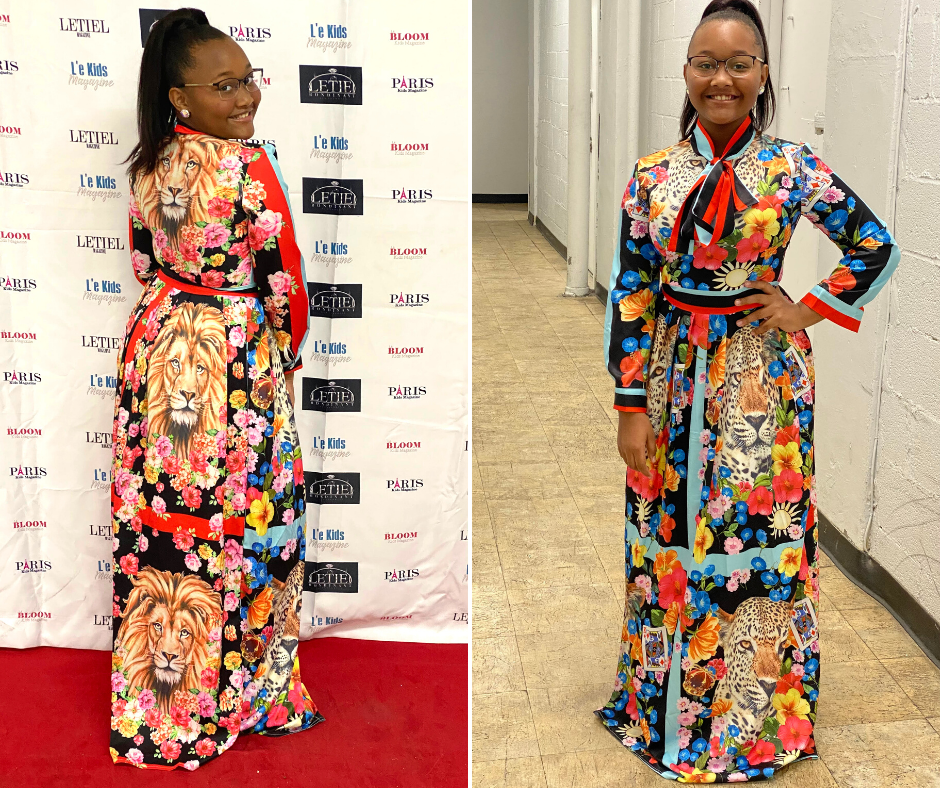 side-by-side photos of Elyse posing in a designer dress at NYFW