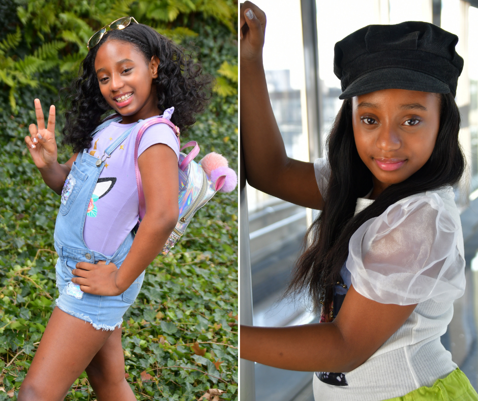 body shot of La'Miah smiling and holding up a peace sign next to another body shot of her modeling